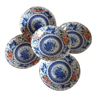Blue & White Floral Japanese Bowls - Set of 5