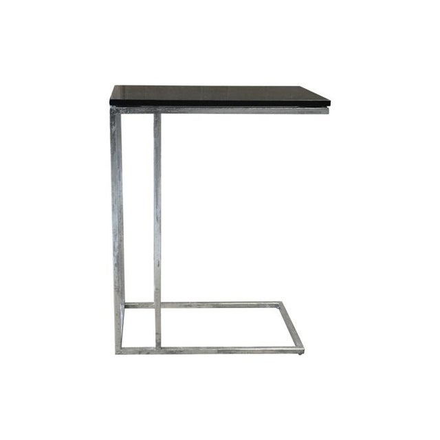 Metal Tray Side End Table With Black Marble Top - Image 2 of 4