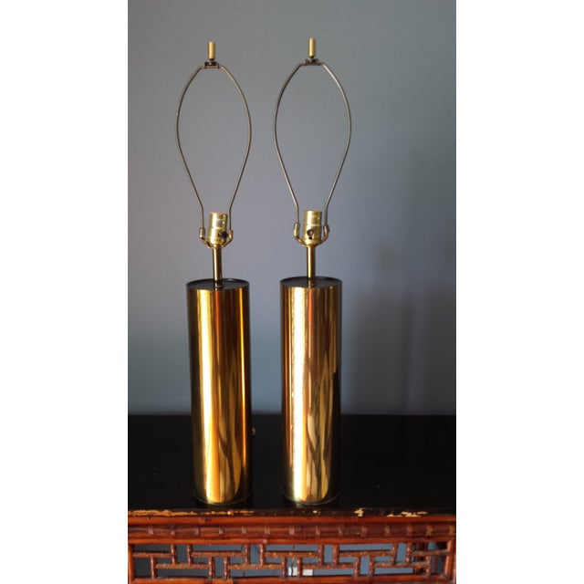 Brass Style Cylinder Table Lamps After Kovacs - 2 - Image 3 of 7