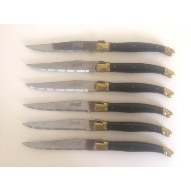 Laguiole French Stainless Steel & Brass Black Steak Knives- Set of 6 - Image 6 of 11