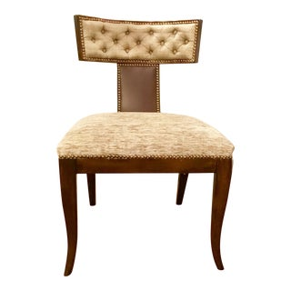Kravet Athens Klismos Maple Chair With Chocolate Leather and Taupe Upholstery Pair Available
