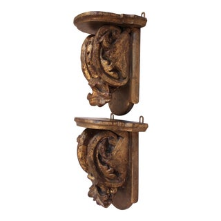 Antique Carved Wood Wall Brackets/Shelves - Pair