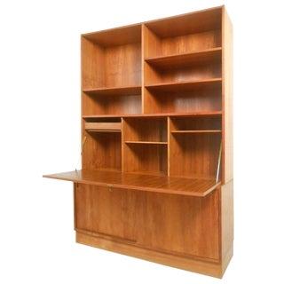 Mid-Century Modern Danish Teak Drop-Front Secretary Bookcase