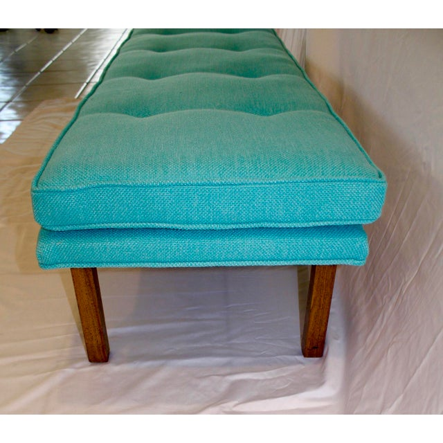 Mid-Century Tufted Turquoise Bench - Image 8 of 8