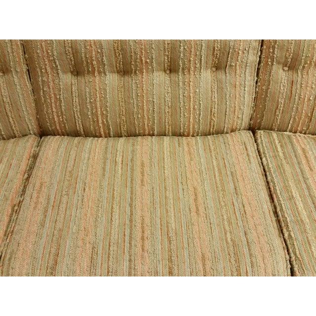 Mid-Century Pastel Stripes Tufted Sofa - Image 3 of 8