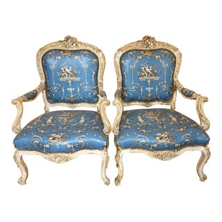 Antique 19th C Italian Baroque Arm Chairs - a Pair