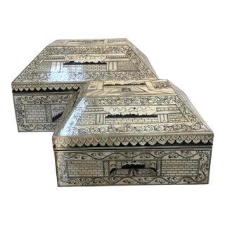 Bone Inlay Boxes - A Pair