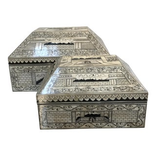 Bone Inlay Boxes - A Pair