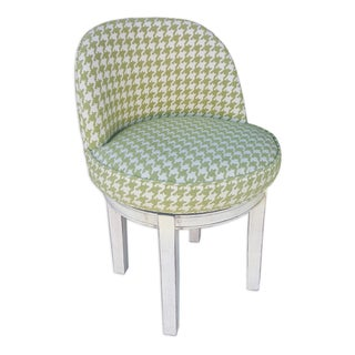Green & White Houndstooth Swivel Chair