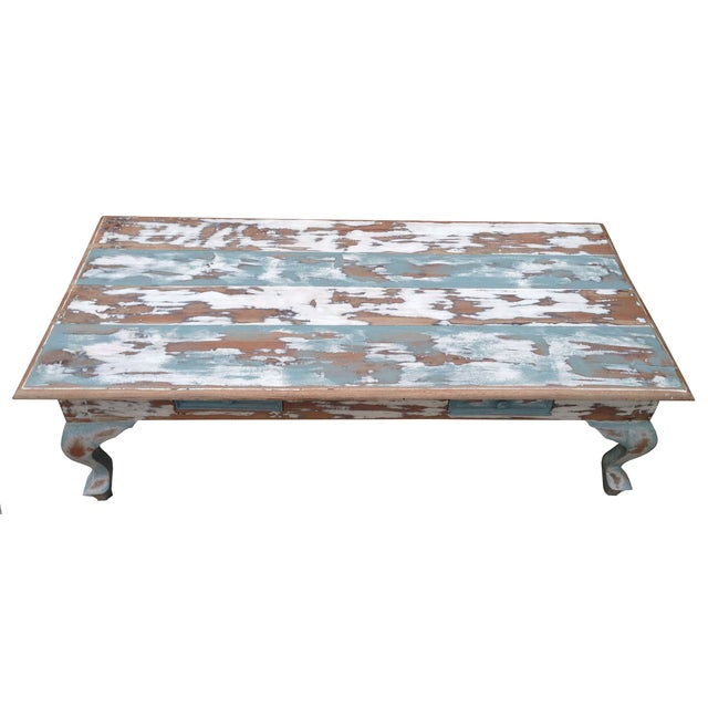 Distressed Coffee Table in Blue and White - Image 2 of 4