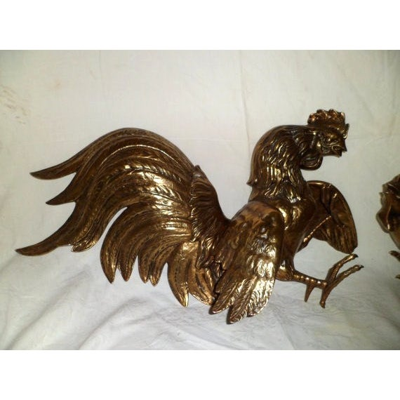 Vintage 1960s Fighting Metal Roosters - Image 2 of 5