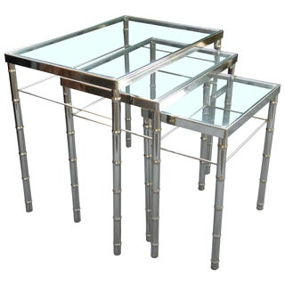 Vintage Faux Bamboo Chrome Nesting Tables - S/3