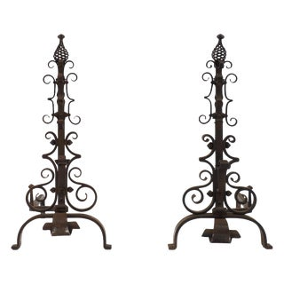 French Vintage Gilbert Poillerat Andirons - A Pair