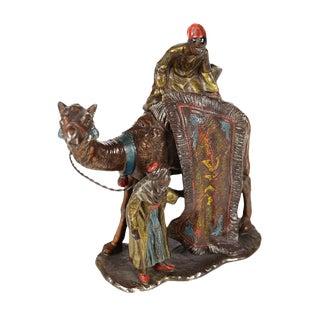 Antique Vienna Cold-Painted Bronze Carpet Seller Table Lighter