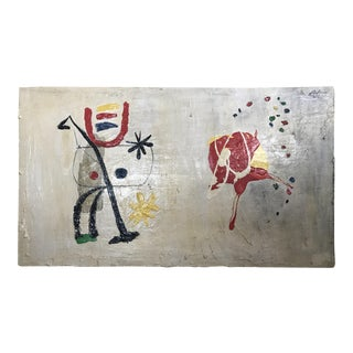 Surrealist Joan Miro Style Large Modernist Painting
