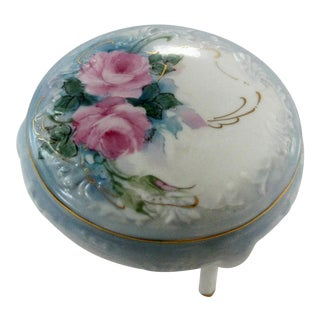 Vintage Hand Painted Rose Dresser Ring Box