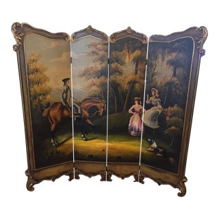 Hand Painted Colonial Scene Divider Screen