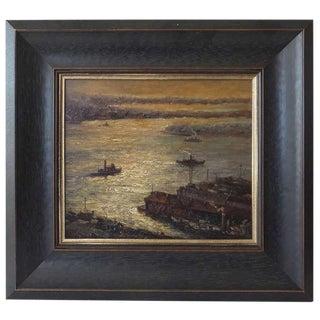 Early 20th Century NY Harbor Painting
