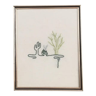 Cactus Line Art Embroidery