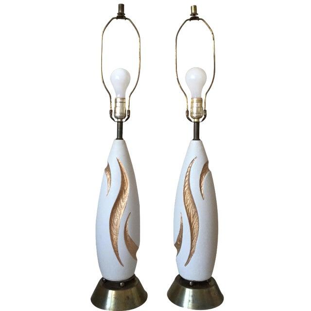 Image of Eames Era Atomic Pottery Boomerang Lamps - Pair