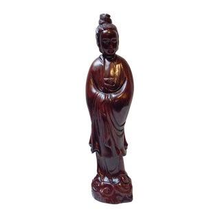 Handcrafted Wood Standing Kwan Yin Bodhisattva Statue