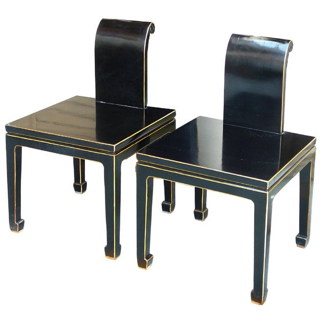 Black Asian Chinese Lacquer Chairs - Pair - Image 1 of 5