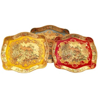 Mid-Century Papier Mâché Florentine Style Trays - Set of Three