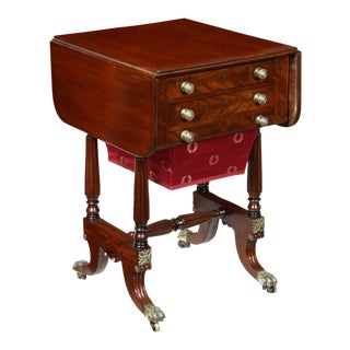 Carved Mahogany Drop Leaf Sewing Table