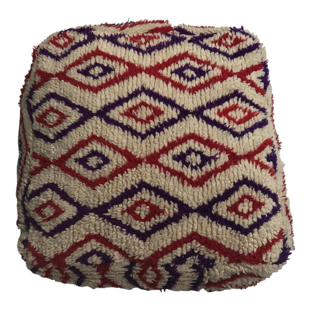Vintage Moroccan Wool Stuffed Pouf - Image 1 of 7