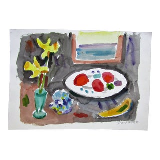 Still Life With Fruit and Flowers Original Watercolor, Signed
