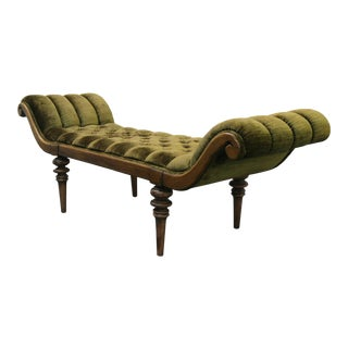 Antique Regency French Provincial Style Tufted Velvet Bench