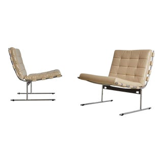 Jorge Zalszupin for L'Atalier Brazilian Leather Lounge Chairs, Circa 1960- A Pair