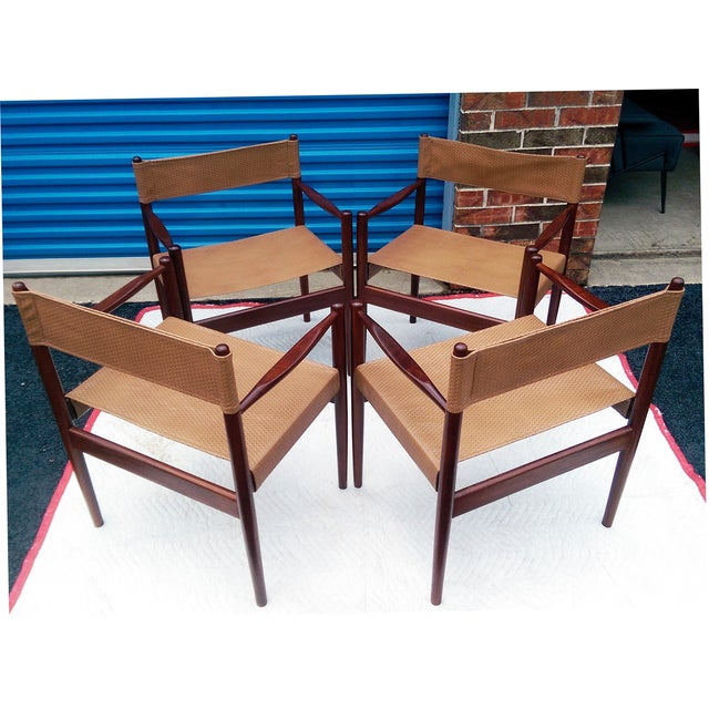 Rosewood Sling Chairs - Set of 4 - Image 3 of 8