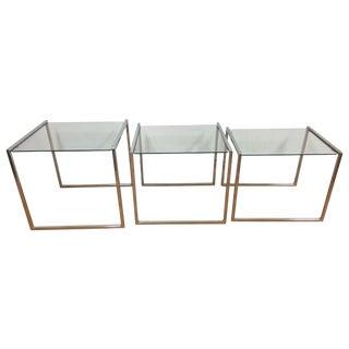 Milo Baughman Style Chrome Nesting Tables