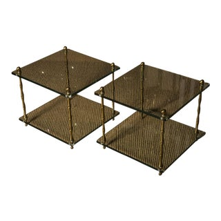 Glass & Brass Faux Bamboo Occasional Tables - a Pair