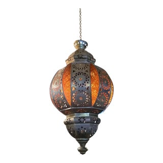 Moroccan Black Metal & Orange Glass Lantern