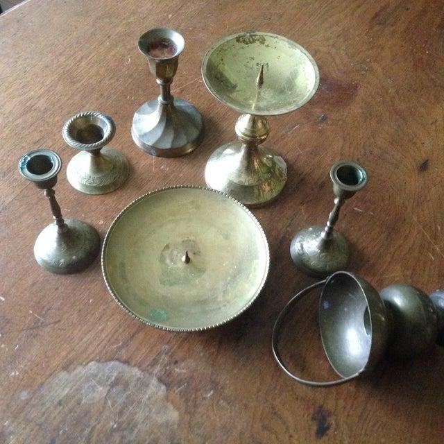 Vintage Brass Candleholders - Set of 14 - Image 8 of 10