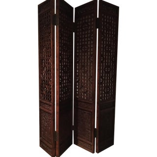 Antique Chinese 4 Panel Screen