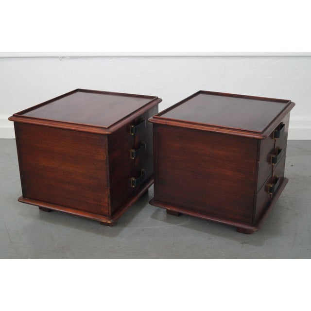 Image of Paul Frankl Johnson Furniture Mahogany Station Wagon Nightstands- A Pair