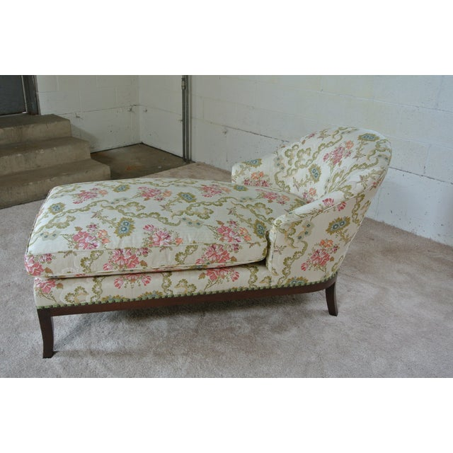 Vintage floral chaise lounge chairish for Antique chaise lounge prices