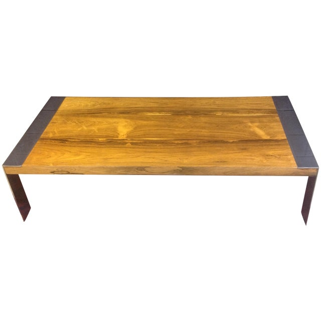 Milo Baughman Rosewood & Chrome Coffee Table - Image 1 of 8