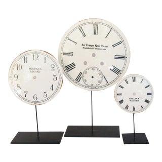 Porcelain & Metal Clock Faces on Stands - Set of 3