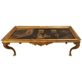 Louis XV Style Chinoiserie Gilt Base Low Coffee Table Depicting Geishas
