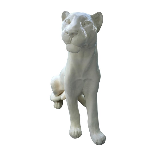 Large white hand crafted ceramic panther sculpture chairish - Ceramic black panther statue ...