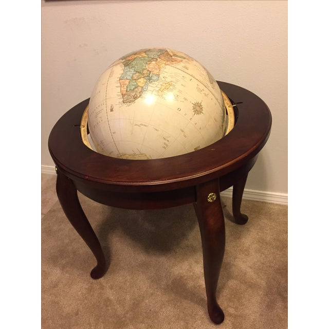 """George F. Cram Co. Floor Model Classic 16"""" World Globe with Wooden Stand - Image 4 of 5"""