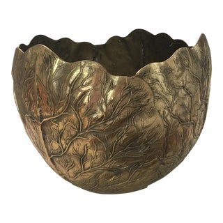 Enormous Brass Cabbage Leaf Planter