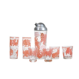 Pink Elephant Barware - Set of 7