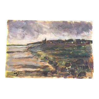 French Oil on Paper Impressionistic Landscape