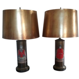 Hollywood Regency Asian Ancestral Lamps - A Pair