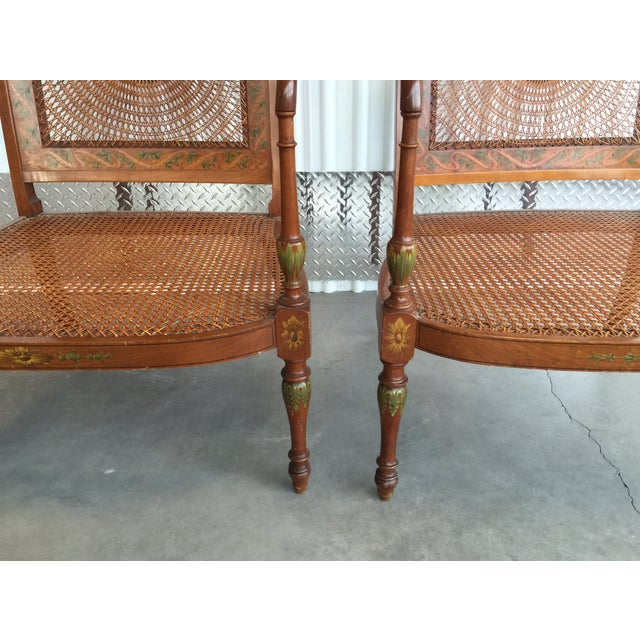 Hand Painted Satinwood Cane Back Chairs - Pair - Image 7 of 7